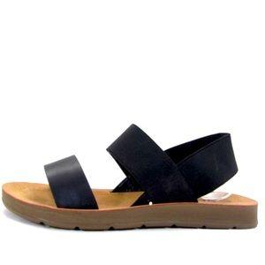 Soda Boost Black Comfort Elastic Flatform Sandal